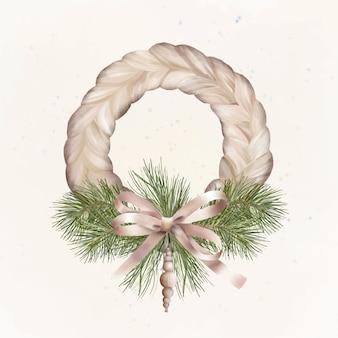 Corona di boho di natale con fiocco festivo e giocattolo in legno