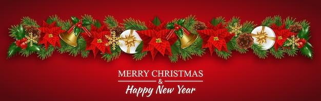 Ghirlanda di decorazioni natalizie per bordi con poinsettia
