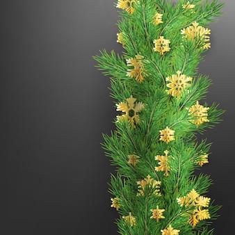 Bordo di natale fatto di rami di pino dall'aspetto realistico con fiocchi di neve lamina d'oro su fondo nero.