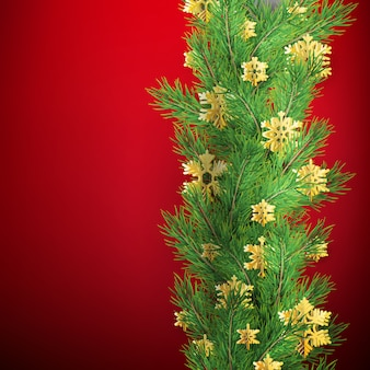 Bordo di natale fatto di rami di pino dall'aspetto realistico con fiocchi di neve lamina d'oro su rosso.