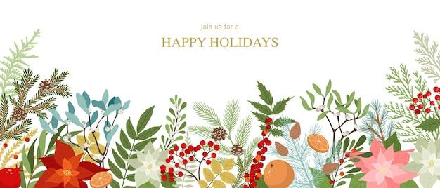 Bordo di natale con piante invernali e fiori, stella di natale, bacche di agrifoglio, vischio, pino e rami di abete, coni, bacche di sorbo. natale e capodanno