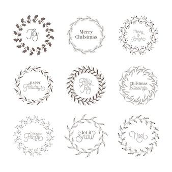 Ghirlanda vintage botanica di natale, elementi di design calligrafico invernale, decorazione di capodanno, cornici di turbinii per inviti, matrimoni, album di ritagli, biglietti di auguri di natale. insieme dell'illustrazione di vettore