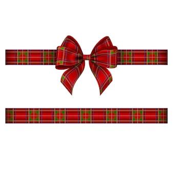Fiocco natalizio e nastro con texture tartan