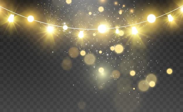 Elementi di design di belle luci luminose di natale luci incandescenti per la progettazione di biglietti di auguri di natale