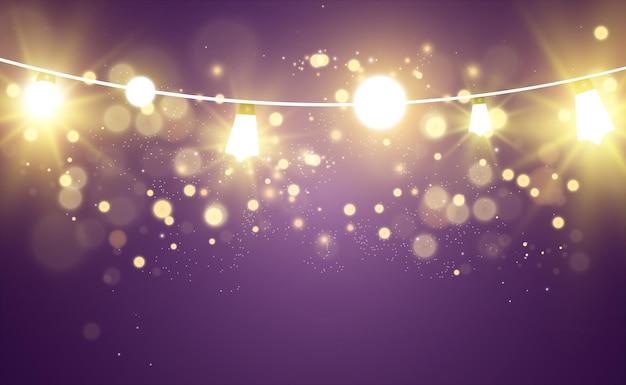 Elementi di design di belle luci luminose di natale luci incandescenti per il design di auguri di natale