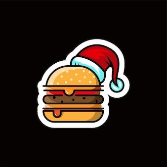 Logo di hamburger di natale