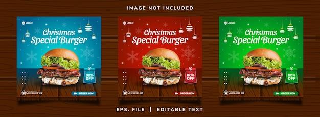 Vendita di hamburger di natale promozione sui social media e design di banner per instagram