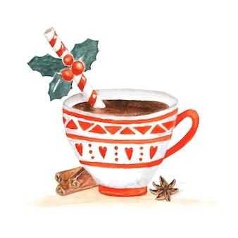 Tazza di cacao natalizia. vettore dell'acquerello