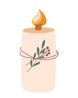 Candela di natale. candela in cera naturale con ramoscelli e bacche. cera di cocco. aromaterapia domiciliare.