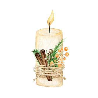 Candela natalizia con decorazione a fiamma stile boho con rami di pino, stecca di cannella, anice stellato.