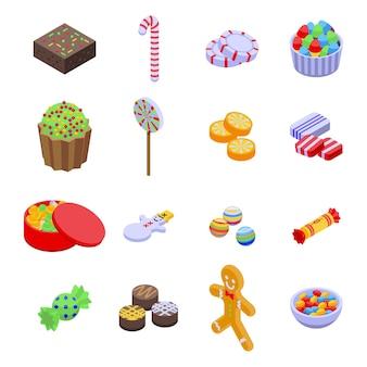 Set di icone di caramelle di natale. insieme isometrico delle icone della caramella di natale per il web design isolato su fondo bianco
