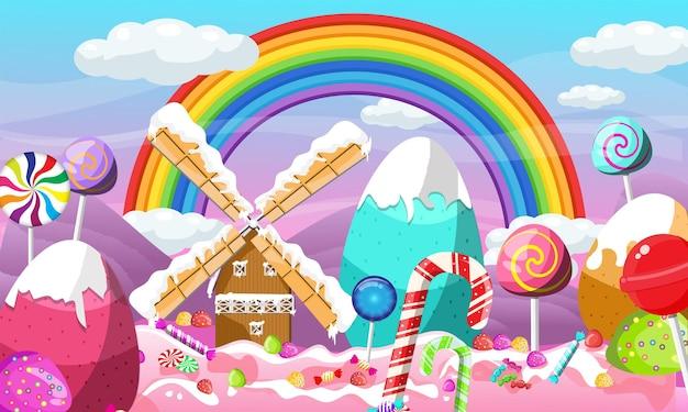 Progettazione del paesaggio della terra delle caramelle di natale con l'arcobaleno