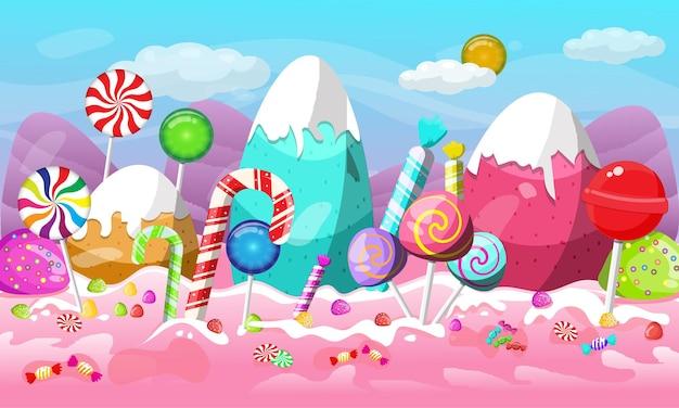 Progettazione del paesaggio della terra delle caramelle di natale