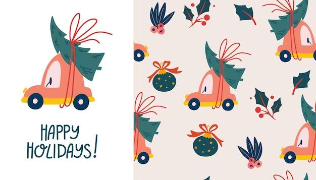 Automobile di natale con il reticolo senza giunte dell'albero di natale. fondo felice di vacanze invernali. elementi di vacanza. anno nuovo modello senza soluzione di continuità, ripetuto. scrapbooking, carta, tessuto. illustrazione vettoriale.