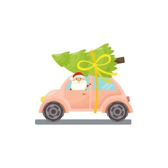 Auto di natale con babbo natale e albero di natale