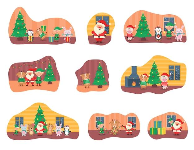 Striscione per biglietti di natale con simpatici animali invernali con regali simpatici personaggi del bosco disegnati a mano
