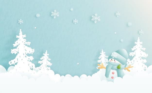 Cartolina di natale, celebrazioni con pupazzo di neve carino e scena di natale tagliata in blu, illustrazione.