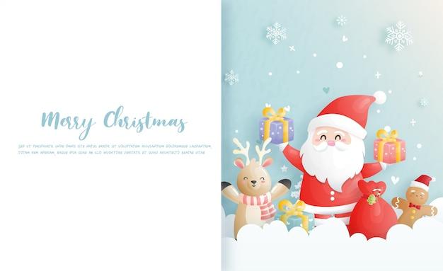Cartolina di natale, feste con babbo natale e amici, scena di natale nell'illustrazione di stile del taglio della carta.