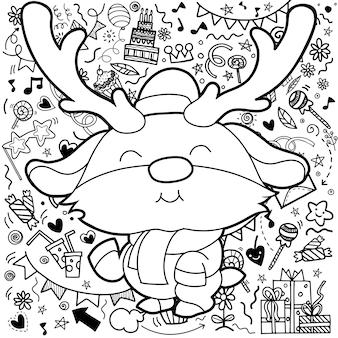 Cartolina di natale di divertenti renne di natale