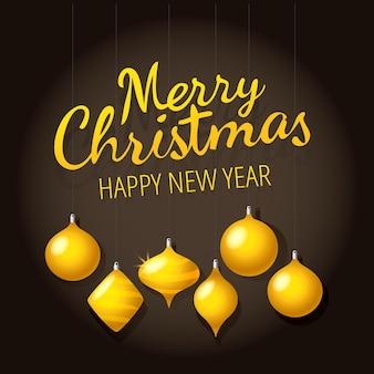 Biglietto natalizio. buon natale e felice anno nuovo