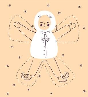 Cartolina di natale con bambino che fa un angelo della neve.