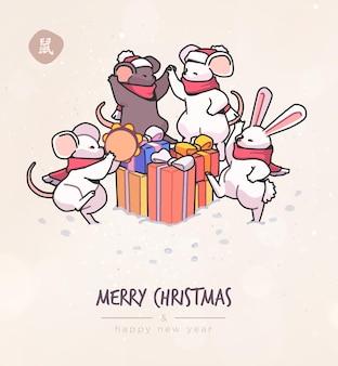 Cartolina di natale con topi simpatici cartoni animati in vettoriale