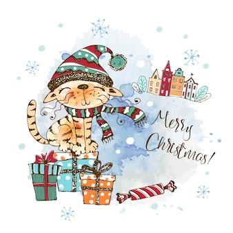 Cartolina di natale con un simpatico gatto in un cappello lavorato a maglia seduto su scatole regalo