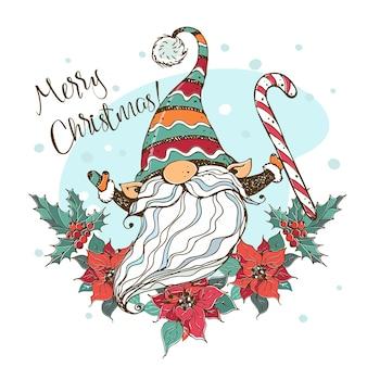 Cartolina di natale con un simpatico gnomo nordico con un grande lecca-lecca in una cornice con una ghirlanda di fiori di poinsettia. stile doodle.