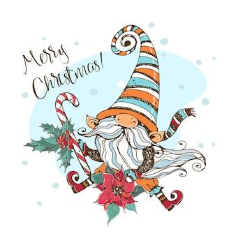 Biglietto natalizio con un simpatico gnomo nordico con un grande lecca-lecca e un fiore di stella di natale. stile doodle.