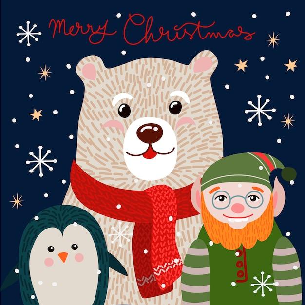 Cartolina di natale con simpatico orso polare in una sciarpa rossa.