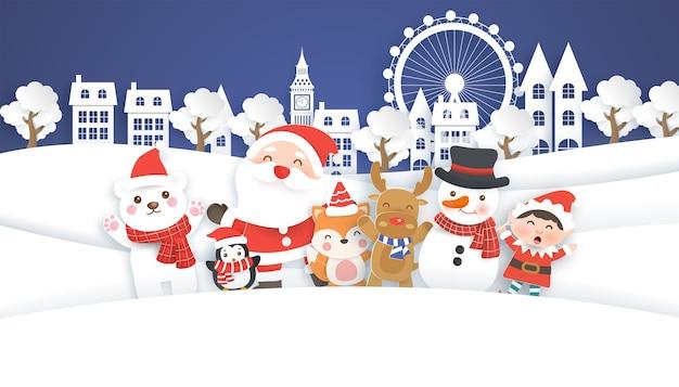 Cartolina di natale con simpatico babbo natale e amici nel villaggio di neve. stile di taglio della carta.