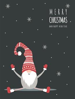 Cartolina di natale con simpatico gnomo scandinavo con cappello rosso. auguri di stagione.