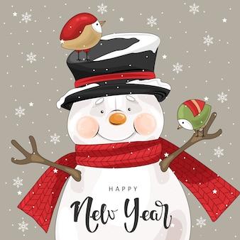 Cartolina di natale con pupazzo di neve carino ed elementi festivi