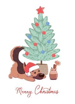 Cartolina di natale con cane pastore tedesco sotto l'albero