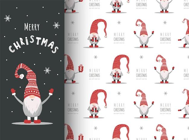 Cartolina di natale con gnomo in cappello rosso. elfi scandinavi svegli sul modello senza cuciture.