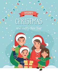 Cartolina di natale con famiglia felice e scritte