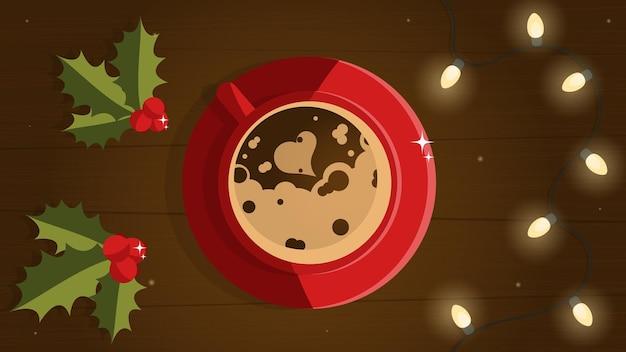 Cartolina di natale con bevanda calda caffè nel nuovo anno cioccolata calda in una tazza bevanda calda in inverno