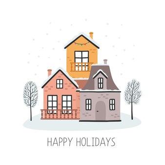 Cartolina di natale con case buone vacanze