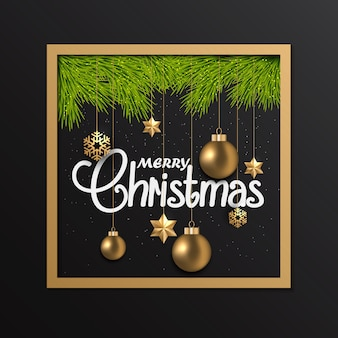 Cartolina di natale con ornamenti in cornice