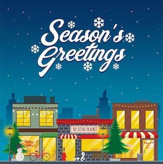 Cartolina di natale con ristorante in strada nel periodo natalizio