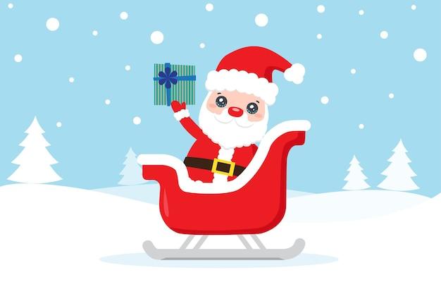 Cartolina di natale con babbo natale e regalo sulla neve