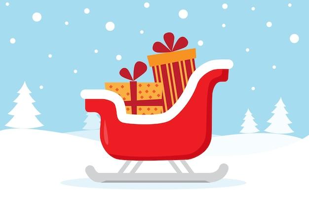 Cartolina di natale con slitta e regali sulla neve