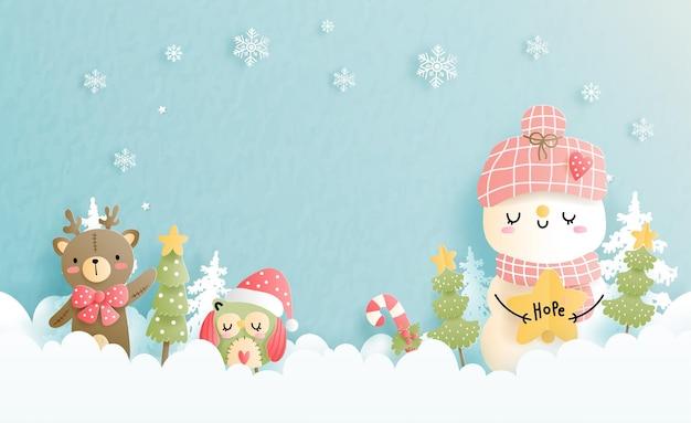 Cartolina di natale con pupazzo di neve, neve ferest.