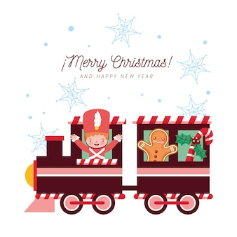 Cartolina di natale con treno e soldatino di latta con pan di zenzero e fiocchi di neve