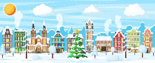 Cartolina di natale con paesaggio urbano e nevicate. paesaggio urbano con case colorate con neve in giornata. villaggio invernale, panorama accogliente della città della città. banner di natale di natale di capodanno. illustrazione vettoriale piatta
