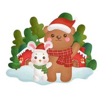 Cartolina di natale con orso e coniglio di colore dell'acqua nella foresta.