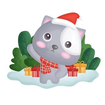 Cartolina di natale con gatto di colore di acqua nella foresta.