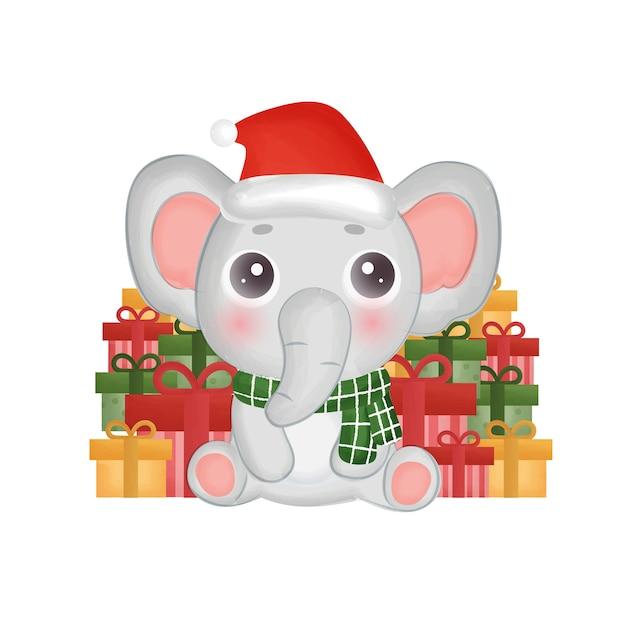 Cartolina di natale con elefante color acqua e scatole regalo.