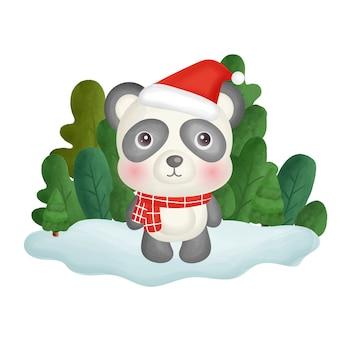 Cartolina di natale con panda di colore dell'acqua nella foresta.