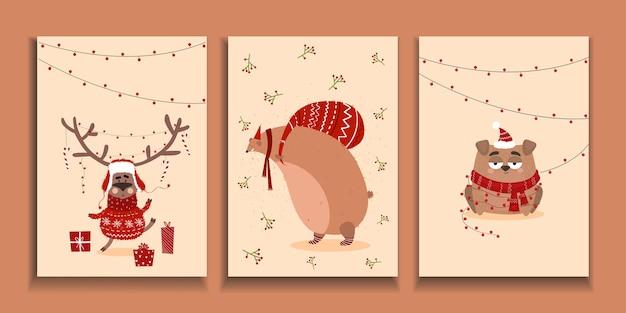 Cartoline natalizie. sfondo di natale con animali in stile cartone animato. cartolina con cervi, orso, cane.